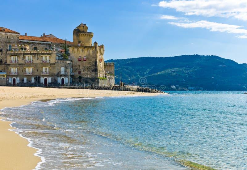 Cilento. Italy,Cilento, Santa Maria di Castellabate, the beach with the Pagliarolo tower royalty free stock image
