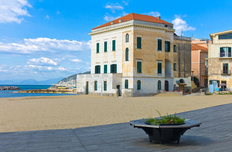 Cilento. Italy,Cilento, Santa Maria di Castellabate, houses on the beach stock image