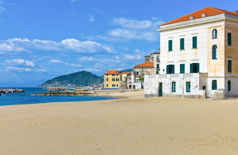 Cilento. Italy,Cilento, Santa Maria di Castellabate, houses on the beach royalty free stock images