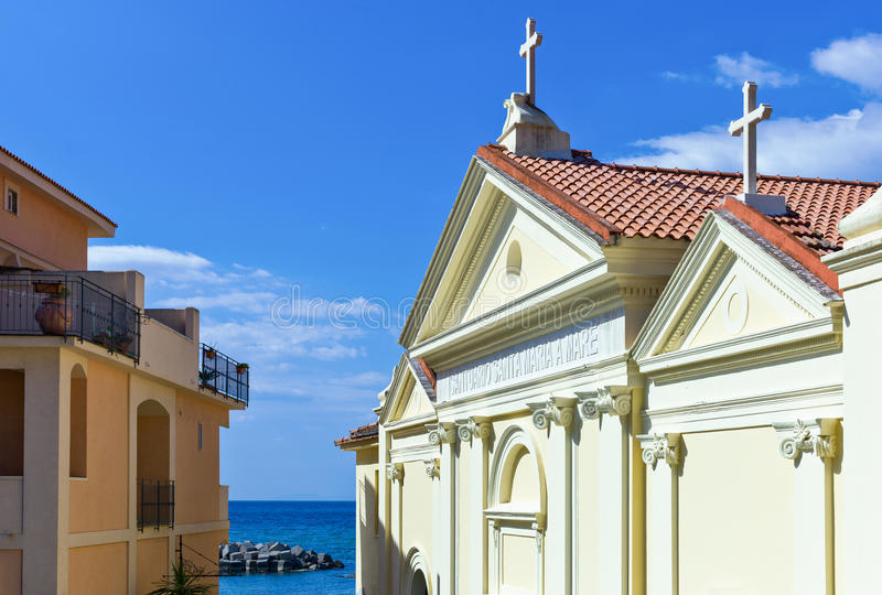 Cilento. Italy,Cilento, Santa Maria di Castellabate, the San Lorenzo church stock photo