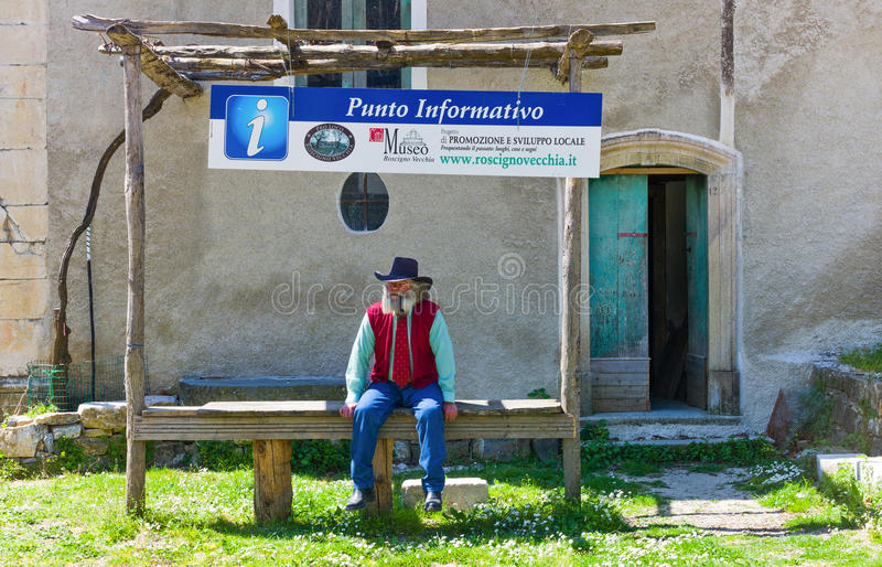 Cilento. Roscigno Vecchia, Italy - April 0,2011: The guardian of the abandoned old quarter stock photo