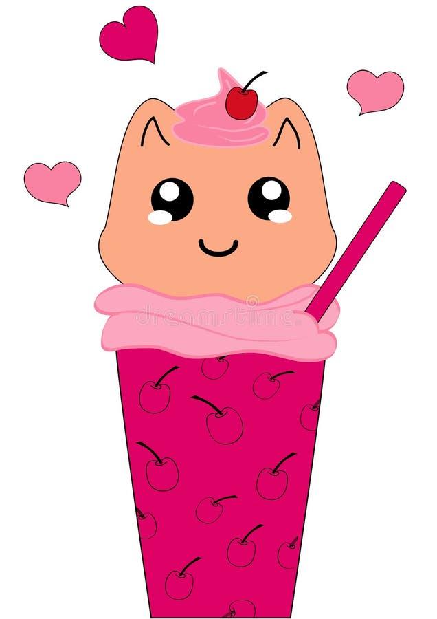 Ciliegia del frappé di Kawaii con Kitten Character illustrazione vettoriale