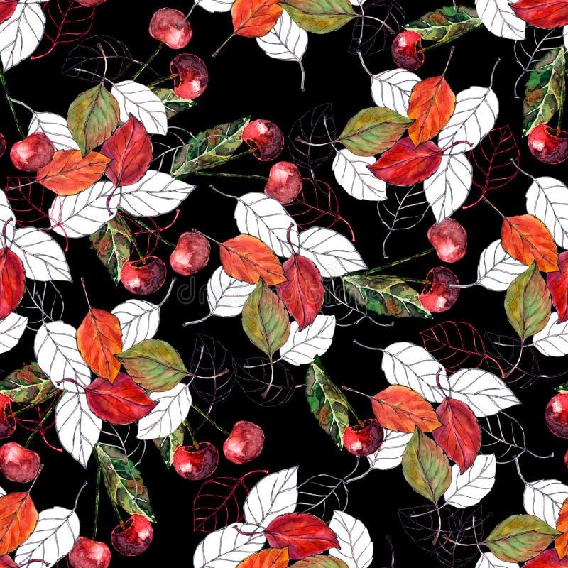 Ciliegia dell'acquerello con le foglie su fondo nero Reticolo senza giunte per il disegno royalty illustrazione gratis