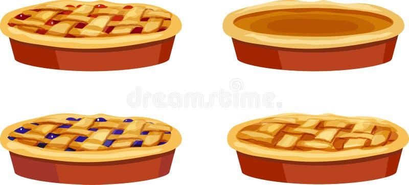 Ciliegia, mirtillo, zucca, intere torte di Apple royalty illustrazione gratis