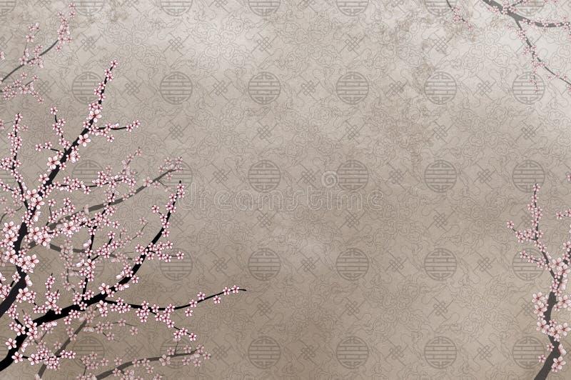 Ciliegio decorativo e filigre cinese del reticolo illustrazione vettoriale