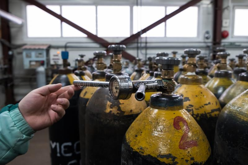 Cilinder with mixed gases. Tanks with compressed gas for industry. Liquefied oxygen production. Factory. Cilinder with mixed gases. Tanks with compressed gas stock image