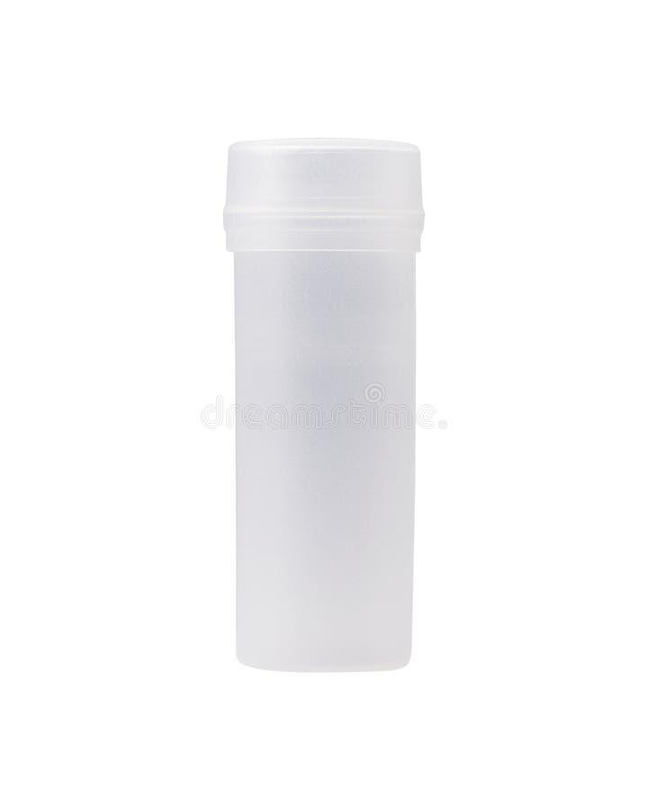 Cilinder plastic fles op geïsoleerde achtergrond Transparant buispakket en deksel Knippend weg of knipselvoorwerp voor montering royalty-vrije stock foto's