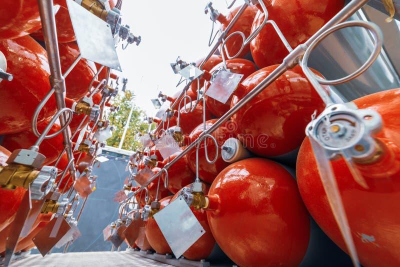 Cilinders voor samengeperst gas royalty-vrije stock afbeeldingen