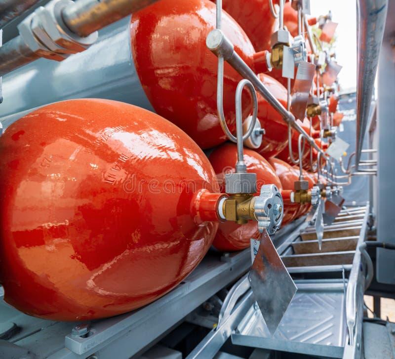 Cilinders voor samengeperst gas royalty-vrije stock foto