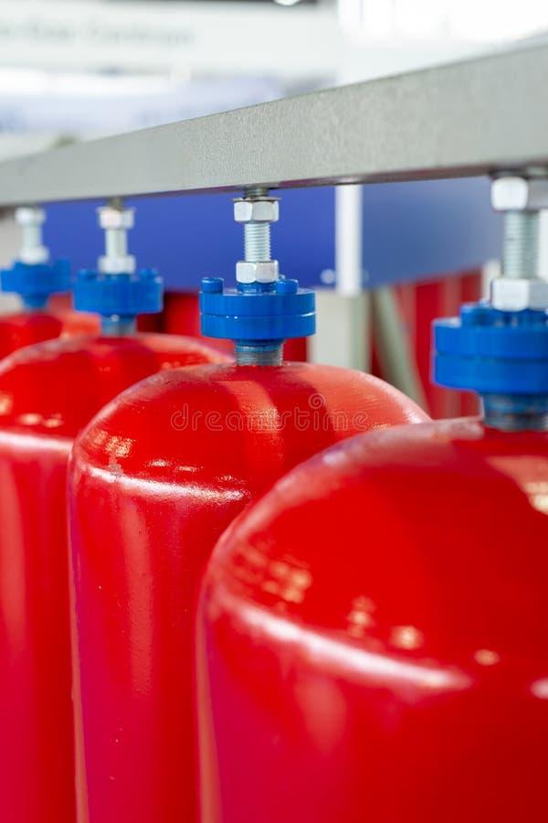 Cilinders voor samengeperst gas stock afbeelding