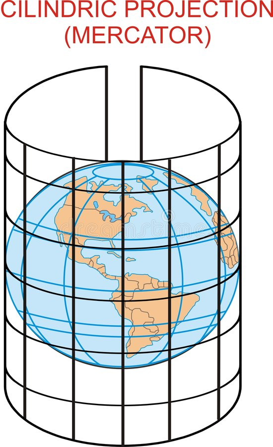 A cilindric projection map stock illustration