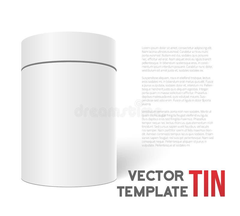 Cilindro blanco de la caja del té del vector 3D aislado en el fondo blanco T stock de ilustración