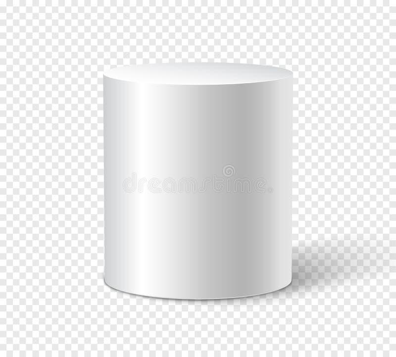 Cilindro blanco en fondo aislado plantilla del diseño del envase del cilindro del objeto 3d stock de ilustración