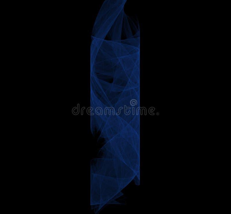 Cilindro blu di frattale delle nebulose su fondo nero Rotazione rosso-cupo di Digitahi art rappresentazione 3d Immagine generata  illustrazione vettoriale