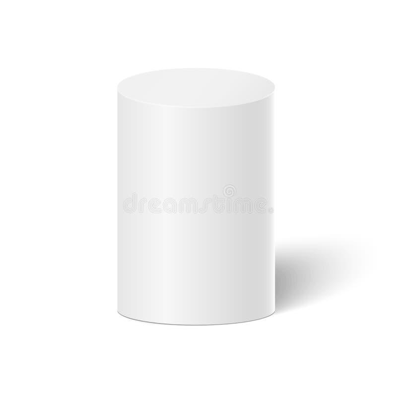 Cilindro branco do vetor 3D no fundo branco Chá Cofee ilustração royalty free