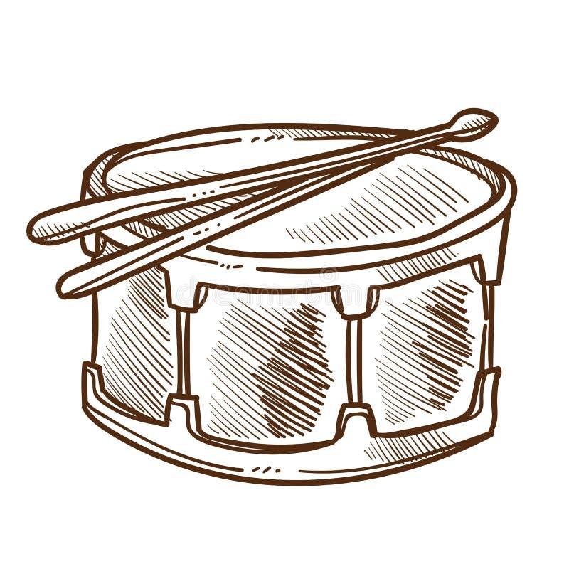 Cilindro com esboço isolado pilões, percussão ou o instrumento musical ilustração royalty free