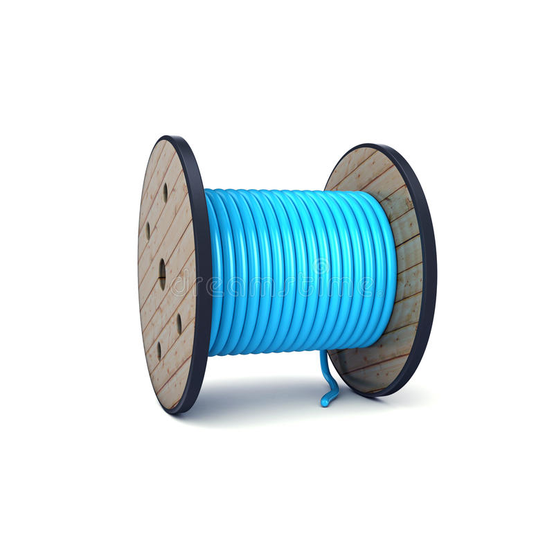 cilindro de cabo 3d colorido azul isolado no branco foto de stock royalty free