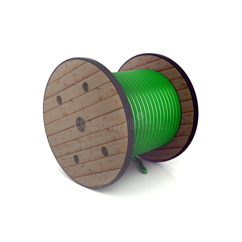 cilindro de cabo 3d colorido verde isolado no branco imagens de stock royalty free