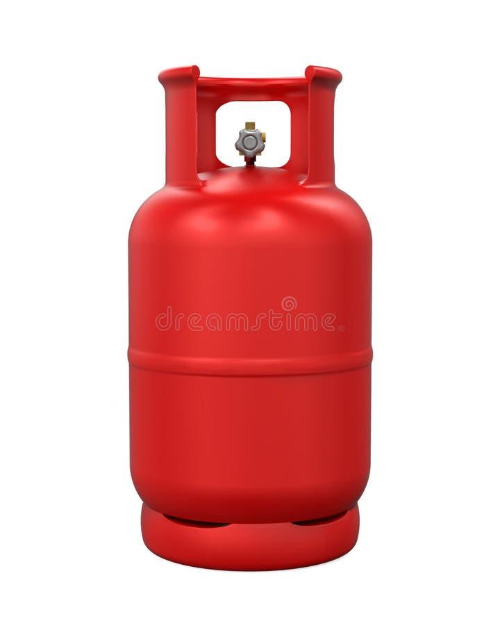 Cilindro de gás vermelho isolado ilustração stock
