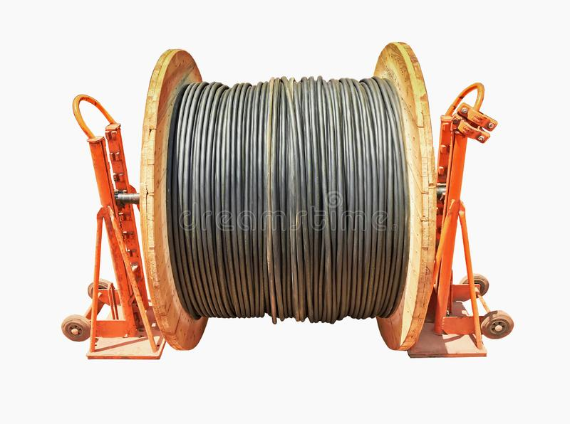 Cilindro e suporte de cabo isolados do fundo branco fotografia de stock