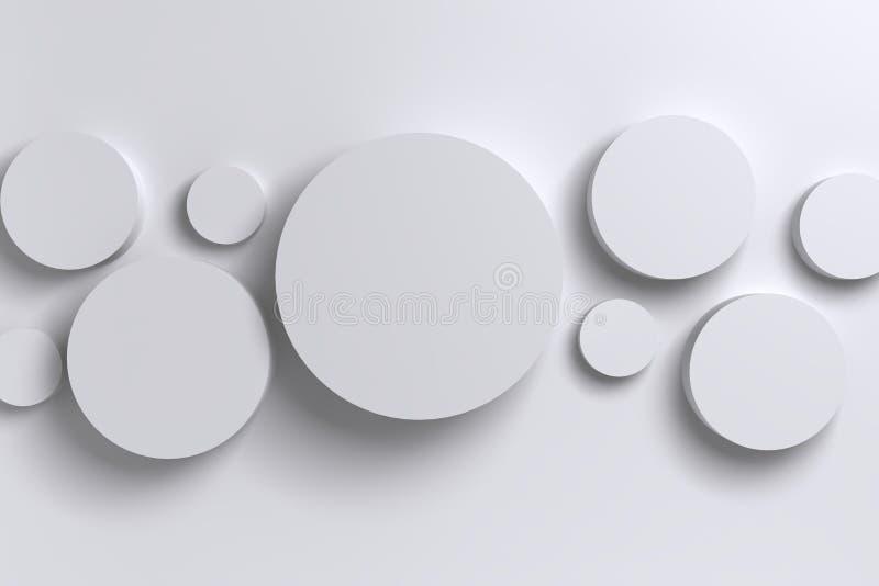 Cilindro geométrico polígono brilhante abstrato do branco 3D do baixo ilustração royalty free
