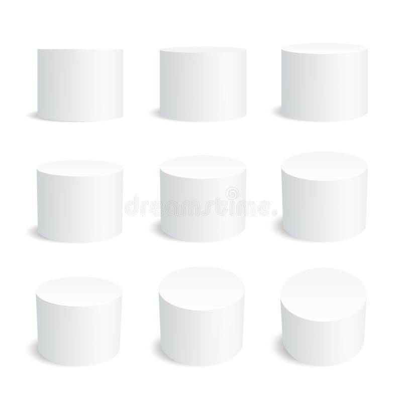 Cilindro realista blanco, podio redondo del soporte vacío aislado sistema geométrico del vector de las formas 3d stock de ilustración