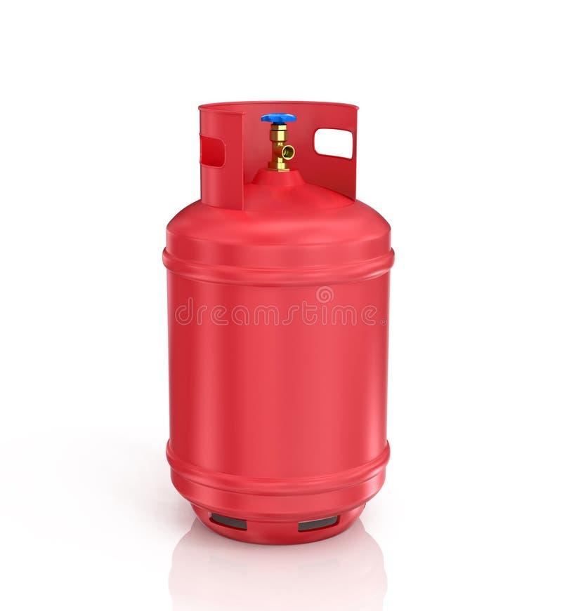 Cilindro rojo del propano con el gas comprimido imagenes de archivo