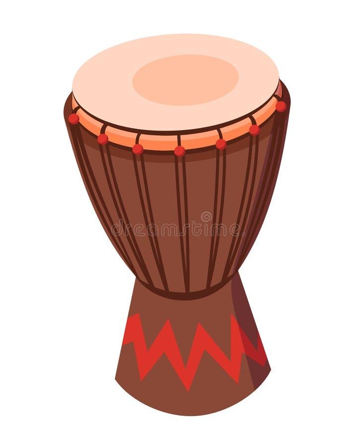 Cilindro tradicional bonito do instrumento musical da percussão, com ornamento decorativo ilustração stock