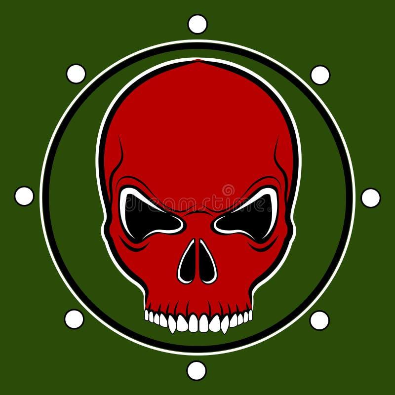 Cilindro vermelho do crânio do vetor ilustração do vetor