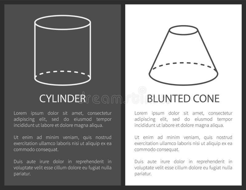 Cilindro y formas geométricas embotadas del cono simples ilustración del vector
