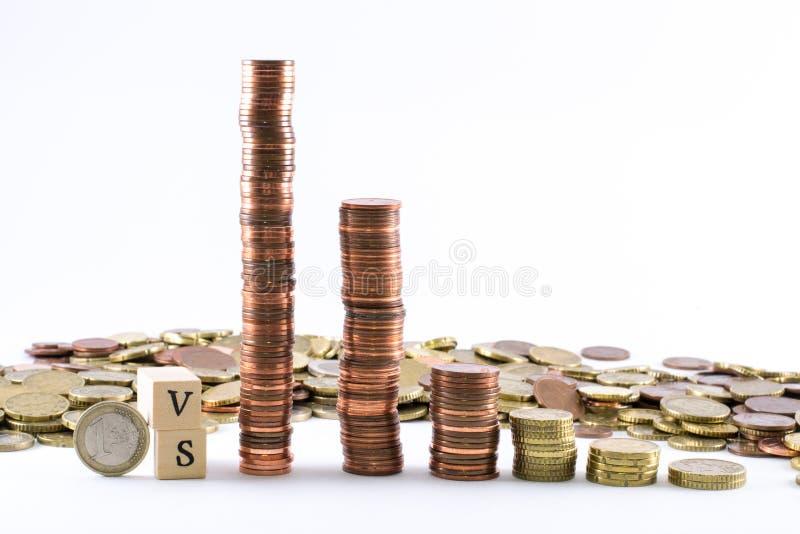 Cilindros de monedas euro y las letras contra formado por los pequeños cubos de madera imagen de archivo