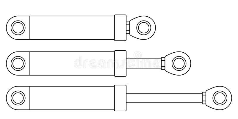 Cilindros hidráulicos do contorno ilustração royalty free