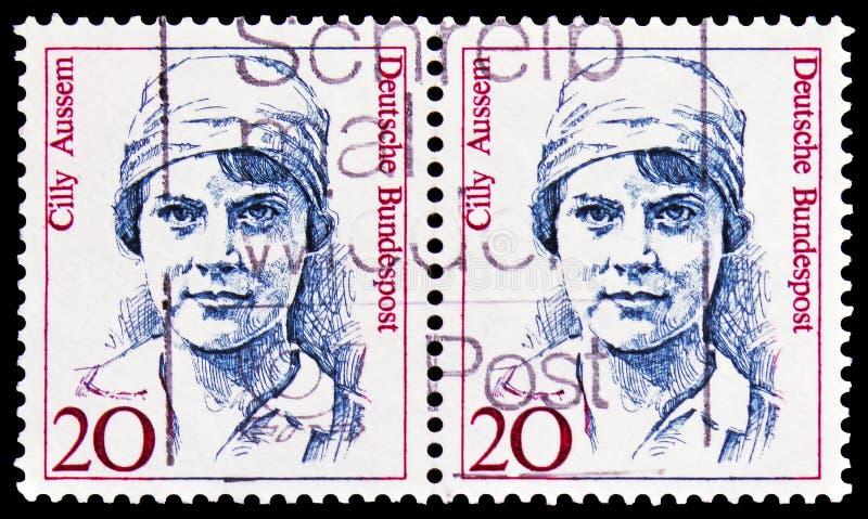 Cilly Aussem 1909-1963, tennisspeler, Vrouwen in Duitse Geschiedenis serie, circa 1988 royalty-vrije stock foto