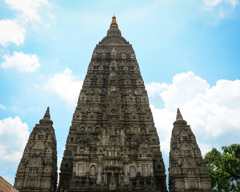 Cima del tempio di Mahabodhi in Gaya, India immagine stock libera da diritti