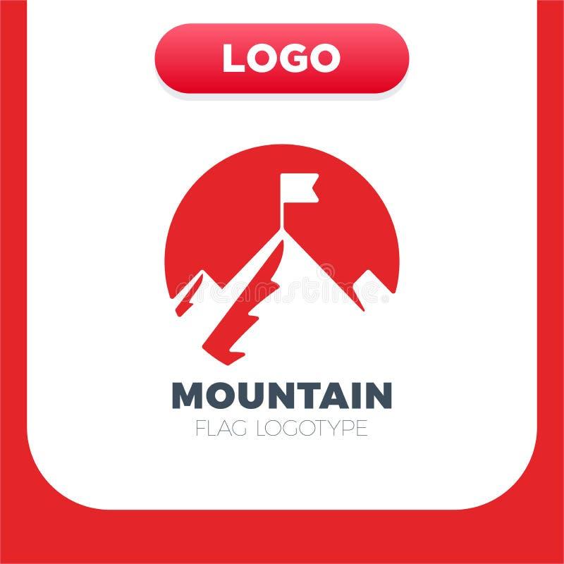 Cima della montagna con il vettore dell'icona della bandiera, segno piano riempito, pittogramma solido isolato su bianco Simbolo  royalty illustrazione gratis