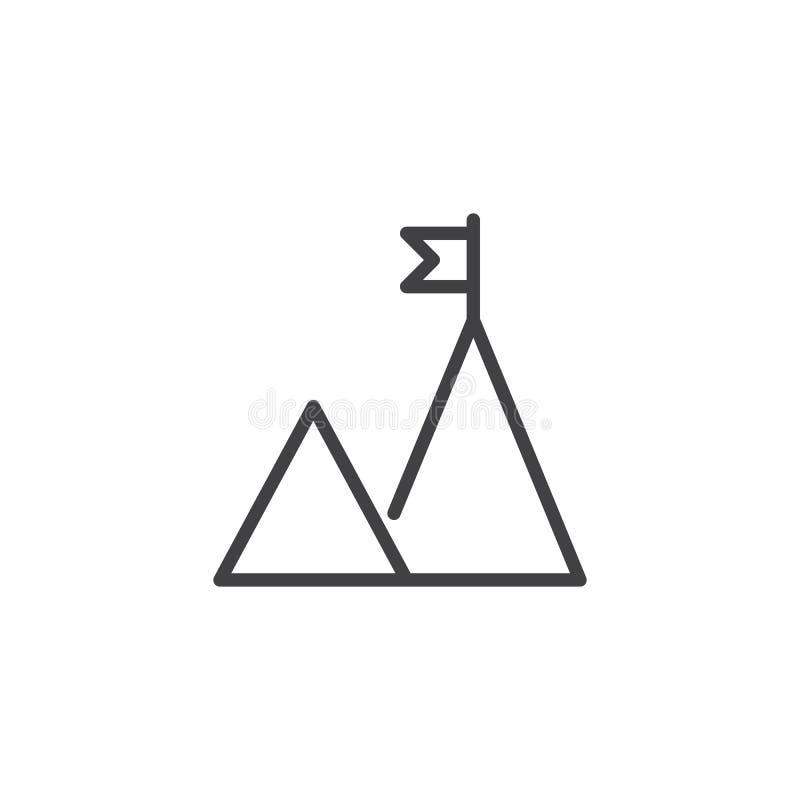 Cima della montagna con l'icona del profilo della bandiera illustrazione di stock