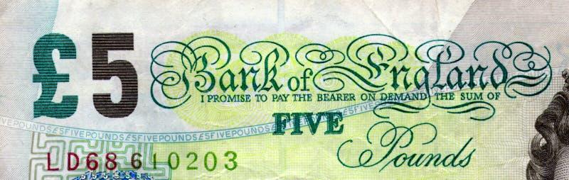 Cima della nota £5 fotografia stock libera da diritti