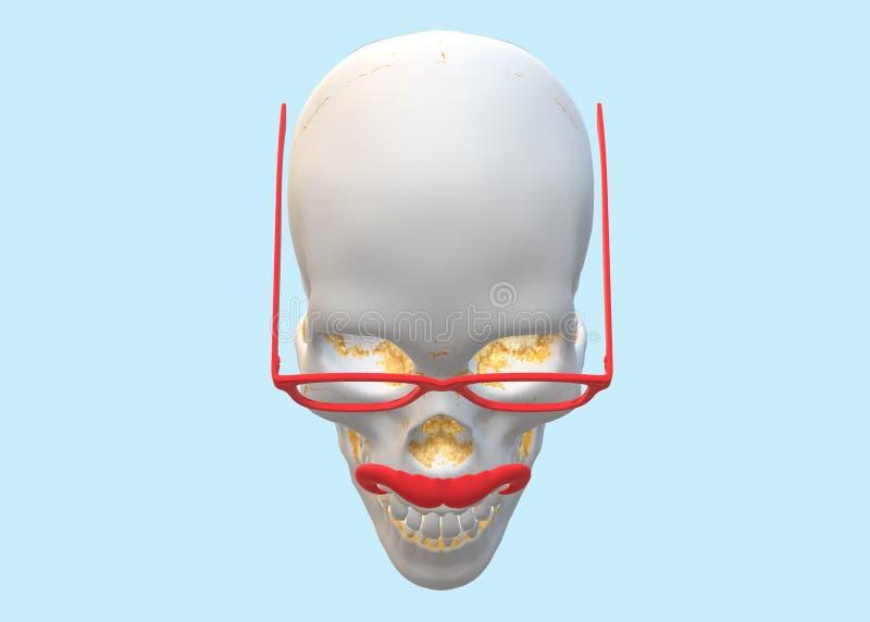 Cima giù la vista di un cranio umano che indossa gli occhiali rossi di vetro e che macchia i baffi rossi illustrazione vettoriale