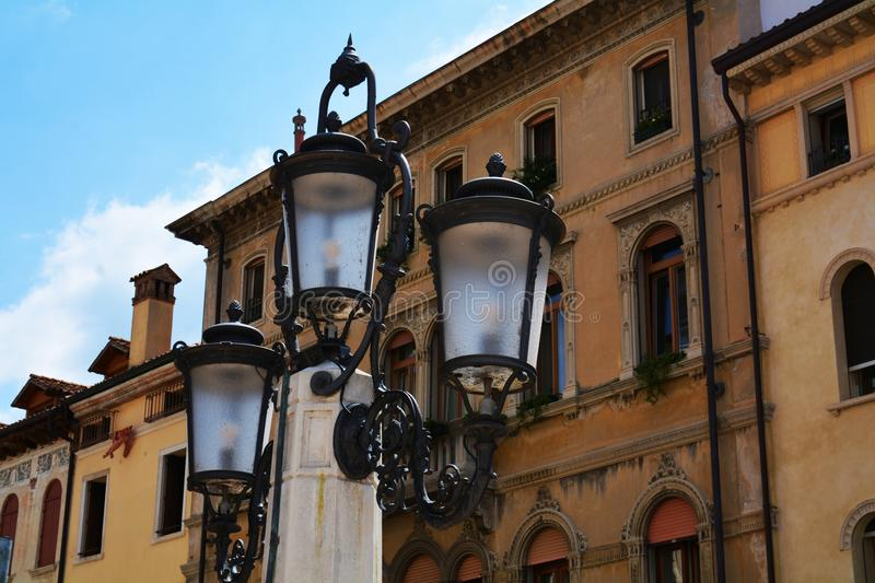 Cima Square, lamp, historical buildings in Conegliano Veneto, Treviso, Italy. Cima Square, oudoors , lamp, terrace, historical decorative buildings are placed in stock photo
