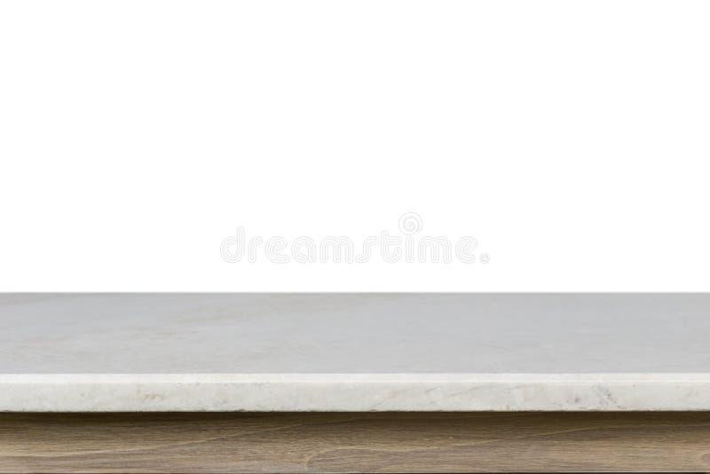 Cima vuota della tavola di pietra mable bianca isolata su backgroun bianco immagine stock