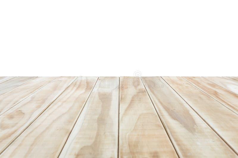 Cima vuota della tavola o del contatore di legno isolato su backgroun bianco fotografie stock