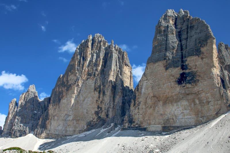 Cime 3 Пик di Lavaredo Drei Zinnen Tre, 3 из самых известных пиков доломитов, в доломитах Sesto, оно стоковое изображение