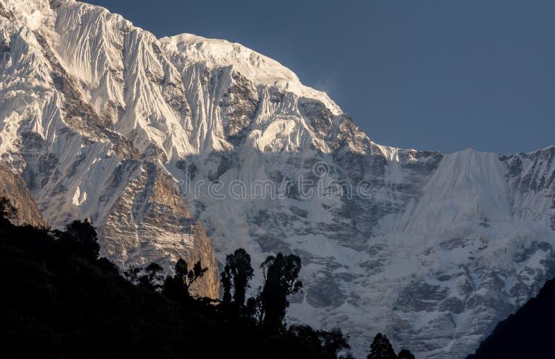 Cimeira e geleira snowcapped sul da montanha de Annapurna contra o céu azul fotos de stock