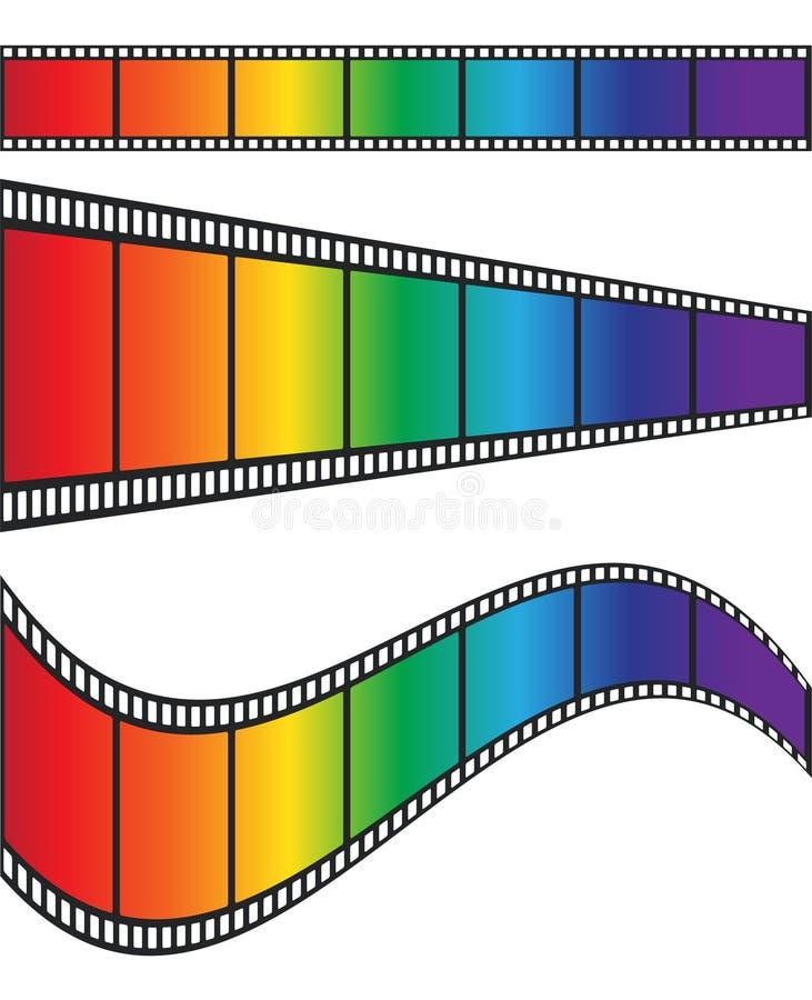Cimena film tape colorful rainbow design, stock vector illustration royalty free illustration
