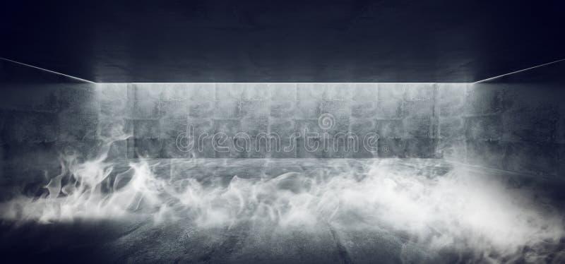 Ciment concret souterrain moderne de Sci fi Minimalistic de fum?e Hall Room Corridor Room Garage grunge avec les colonnes crucifo illustration libre de droits