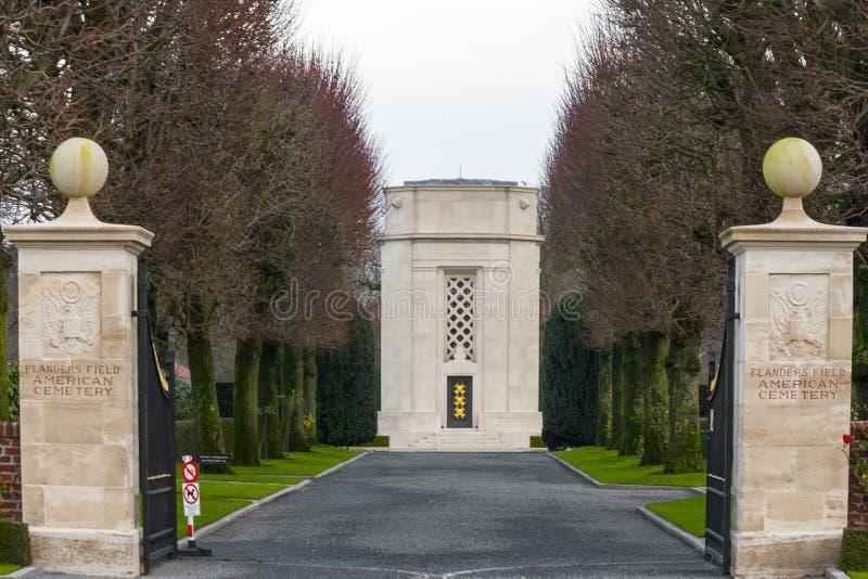 Cimetière américain Waregem Belgique de champ de la Flandre image libre de droits