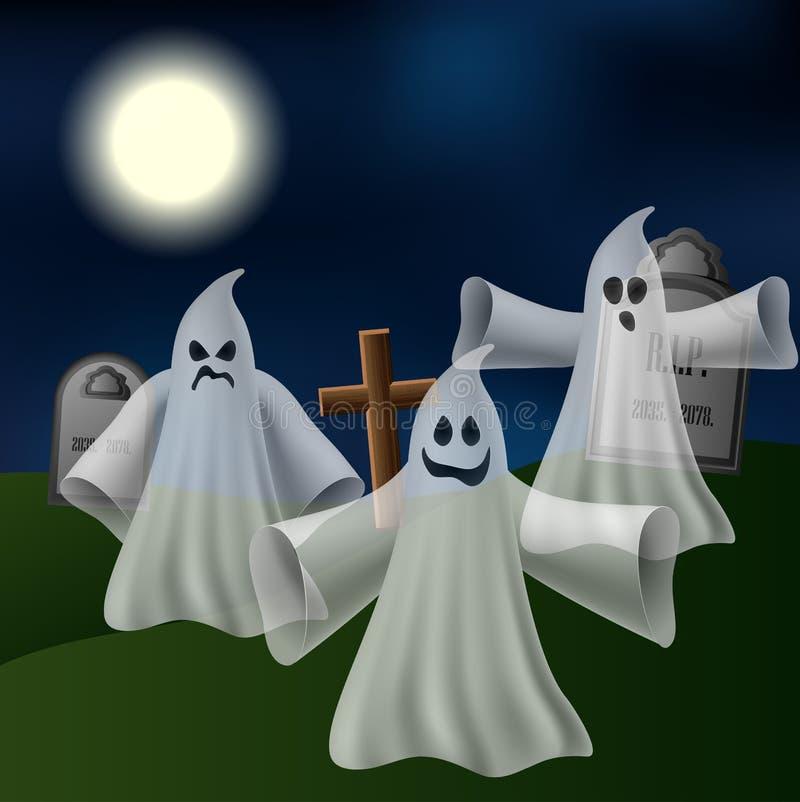 Cimetière avec des fantômes illustration de vecteur