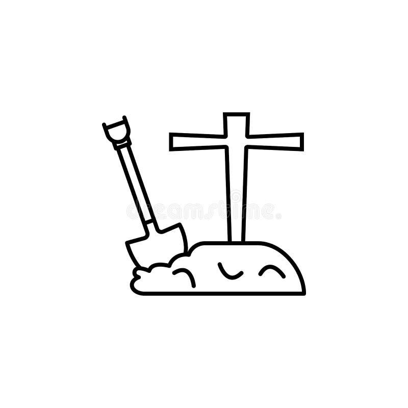 Cimetière avec l'icône de pelle Élément d'icône de vacances de Halloween pour les apps mobiles de concept et de Web Ligne mince c illustration libre de droits
