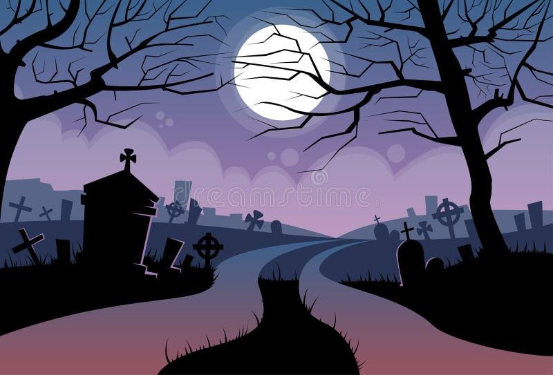 Cimetière de bannière de cimetière de lune de Halloween de rivière illustration stock