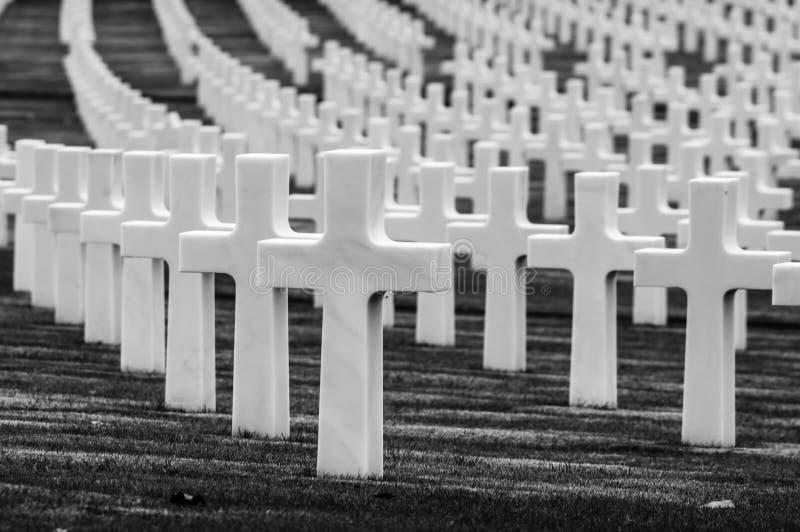 Cimetière de la deuxième guerre mondiale d'Américain images libres de droits